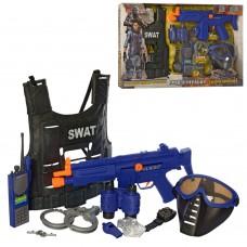Игровой набор для мальчиков SWAT Полицейский бронежилет, игрушечное оружие, маска, со звуковыми эффектами