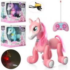 Детская интерактивная игрушка для девочек Пони на радиоуправлении со светом и звуковыми эффектами, фиолетовая