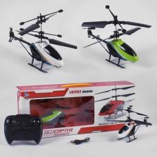 Детская игрушка для мальчиков Вертолет встроенный аккумулятор, на радиоуправлении с пультом 19х17х11см зеленый