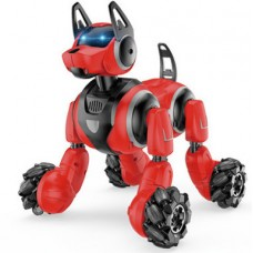 Игровая Интерактивная Собака-робот на радиоуправлении с пульта или браслета, звуковые эффекты, 31 см, красный