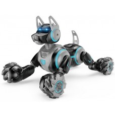 Игровая Интерактивная Собака-робот на радиоуправлении с пульта или браслета, звуковые эффекты, 31 см, черный