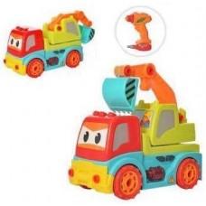 Игровой набор для мальчиков Конструктор с шуруповертом Экскаватор с пультом управления со светом и звуком