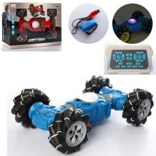 Детская Игрушка для мальчиков Трюковая Машинка Перевертыш на радиоуправлении, свет, 33 см, СИНЯЯ арт. 2155