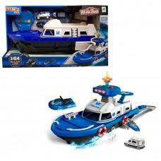 Детский Игровой набор для мальчиков Полицейский Корабль, скутер и машинка, световые и звуковые эффекты, синий
