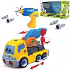 Игровой Конструктор для мальчиков Кран-эвакуатор с шуруповертом и съемным двигателем, свет и звуковые эффекты