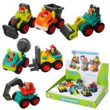 Детский игровой набор Строительная техника: самосвал, бетономешалка, экскаватор, каток, погрузчик и бульдозер