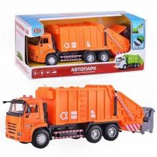 Игрушка для мальчиков фрикционная Машинка Автопарк Мусоровоз со светом и звуком, открывающиеся двери - оранжевый