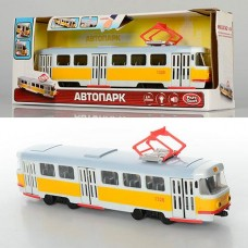 Детская Инерционная Игрушка для мальчиков Автопарк Трамвай, звук и свет, открывающ. двери, синий арт. 9708 В