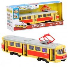 Детская инерционная Машинка для мальчиков Автопарк: Трамвай со светом и звуком, открывающиеся двери, оранжевый