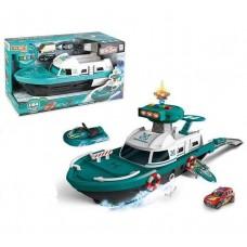 Детский Игровой набор для мальчиков Полицейский Корабль, скутер и машинка, свет и звуковые эффекты, бирюзовый