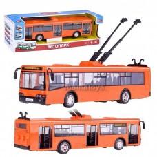 Детская Инерционная Машинка для мальчиков Автопарк: Троллейбус - свет и звук, открывающиеся двери, оранжевый