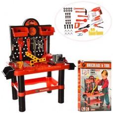 Детский Набор инструментов для мальчиков Стойка с полочкам и ячейками, дрель с вращающимся сверлом арт. 57008