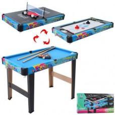 Настольная спортивная игра 3 в 1 (хоккей, теннис, бильярд) на ножках, размер стола 75-40-58 см арт. 2036+P2