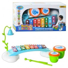 Детский Музыкальный Игровой центр Радужный Ксилофон, колокольчик, барабаны, размер 41х22х9,5 арт. 7342 (909)