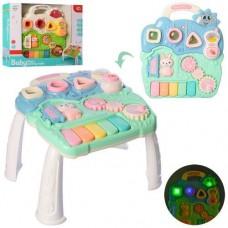 Детский Развивающий игровой Столик с сортером, трещеткой, пианино, светомузыкальный, бирюзовый, 35х32х23 см