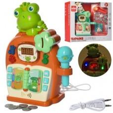 Детская Музыкальная игрушка Караоке-машина, монетки, микрофон, 21 песня, сказки, музыка, подсветка, бирюзовая