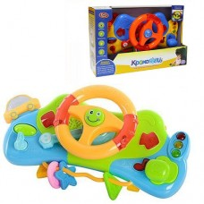 Детская Музыкальная Игрушка тренажер для юных водителей Кроха руль, крепится на кроватку, коляску арт. 7324