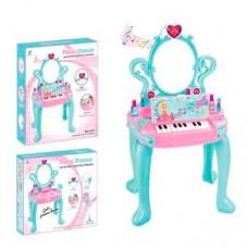 Трюмо детское с музыкальным пианино и аксессуарами (фен, духи, помады), размер 73-43-31 см арт. 3312