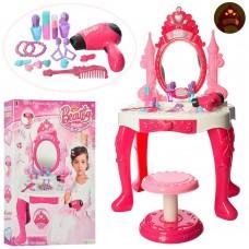 Детское Трюмо для девочек со стульчиком и зеркалом с подсветкой, феном и аксессуарами, 45х77х30 см арт. 66868