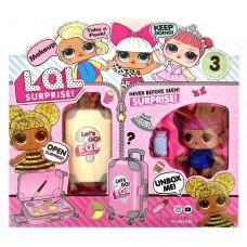 Игровой набор для девочек Кукла LOL ЛОЛ и Чемодан с косметикой с выдвижной ручкой, на колесиках