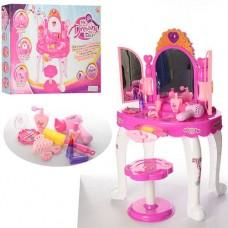 Трюмо детское с волшебным зеркалом, фен со звуком, стульчик и модные аксессуары, размер 73х44.5х31см арт.16632