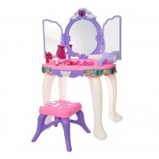 Детское музыкальное Трюмо для девочек с открывающимися створками и стульчиком, феном и аксессуарами арт.80009B