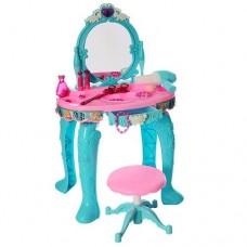 Детское музыкальное Трюмо для девочек со стульчиком, с феном и модными аксессуарами 29х43х73см арт. 90013