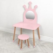 Игровой набор мебели для девочек - деревянное трюмо со стульчиком для дома и детского сада, розовый 70х50х117см