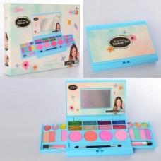 Набор детской безопасной косметики для девочек Трехуровневая планшетка: блеск для губ, тени, румяна, кисточки