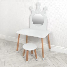 Игровой набор мебели для девочек - деревянное трюмо со стульчиком для дома и детского сада, белый 70х50х117см