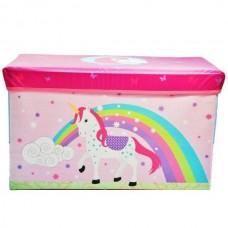 Детский разборный Пуф-корзина для хранения игрушек, настольных игр и аксессуаров, розовый-единорог 60х28х35см