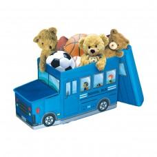 Детский пуф-органайзер коробка 3 в 1 (корзина для игрушек) Автобус синий размер: 55х26х31 см