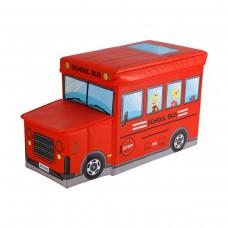 Детский пуф-органайзер коробка 3 в 1 (корзина для игрушек) Автобус красный размер: 55х26х31 см