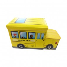 Детский пуф-органайзер коробка 3 в 1 (корзина для игрушек) Автобус желтый размер: 55х26х31 см