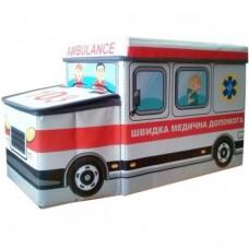 Детский пуф-органайзер коробка 3 в 1 (корзина для игрушек) Скорая помощь размер: 55х26х31 см