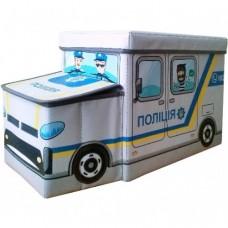 Детский пуф-органайзер коробка 3 в 1 (корзина для игрушек) Полиция размер: 55х26х31 см