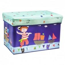 Детский разборный Пуф-корзина для хранения игрушек, настольных игр и аксессуаров, складной, синий 60х28х35см