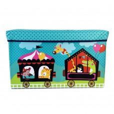 Детский разборный Пуф-корзина для хранения игрушек, настольных игр, аксессуаров, складной бирюзовый 60х28х35см
