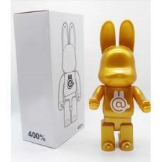 Дизайнерская Игрушка Бирбрик Кавс Bearbrick Kaws - Фигурка Золотой Кролик Bearbrick 400 %