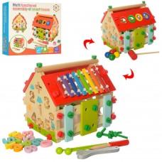 Деревянная развивающая игрушка - бизиборд (сортер, ксилофон, стучалка, конструктор) арт. 2087