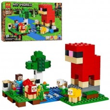 Конструктор для мальчиков Шерстяная ферма 266 деталей - фигурки героев, овец, аксессуары - Lari Minecraft My World