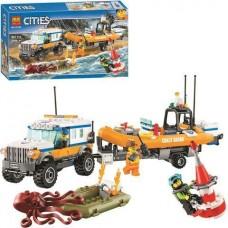 Конструктор для мальчиков Внедорожник с лодкой Службы береговой охраны и фигурки, 367 деталей - Bela Cities