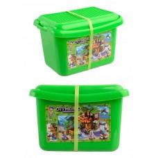Конструктор для мальчиков Дом у ручья: пластиковый бокс, 9 фигурок, лужайка-основа - Jiqile Minecraft DIY World