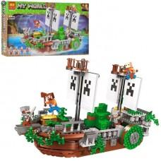 Конструктор для мальчиков Сражение на корабле: 4 фигурки, аксессуары, 630 деталей - Bela Minecraft My World