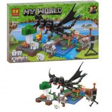 Конструктор для мальчиков Нападение черного дракона: овечья ферма, 283 детали 5 героев - Bela Minecraft My World