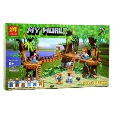 Конструктор для мальчиков Джунгли: жилища на деревьях, навесной мост, 686 деталей - Lele Minecraft My World