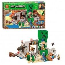 Конструктор для мальчиков Шахта Крипера: фигурки героев, вагонетка, факелы, 852 детали - Bela Minecraft My World