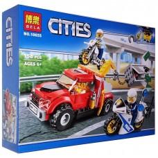Конструктор для мальчиков Ограбление на буксировщике: 2 мотоцикла, сейф 158 деталей, 3 фигурки - Bela Cities