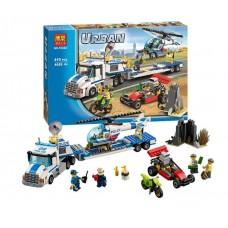 Конструктор для мальчиков Перевозчик вертолета: полицейский грузовик, вертолет, джип - 410 деталей, 4 фигурки - Bela Urban