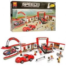 Конструктор для мальчиков Пит-стоп Гонки Чемпионов: спортивные машины 883 детали, фигурки - Bela Speeds Champion
